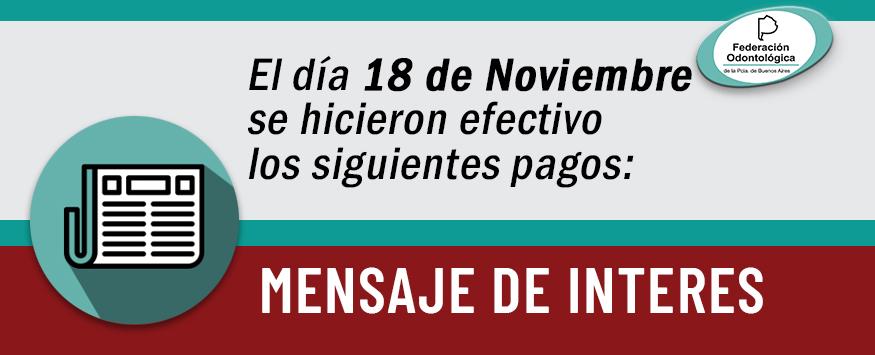 Pagos efectuados el 18 de noviembre